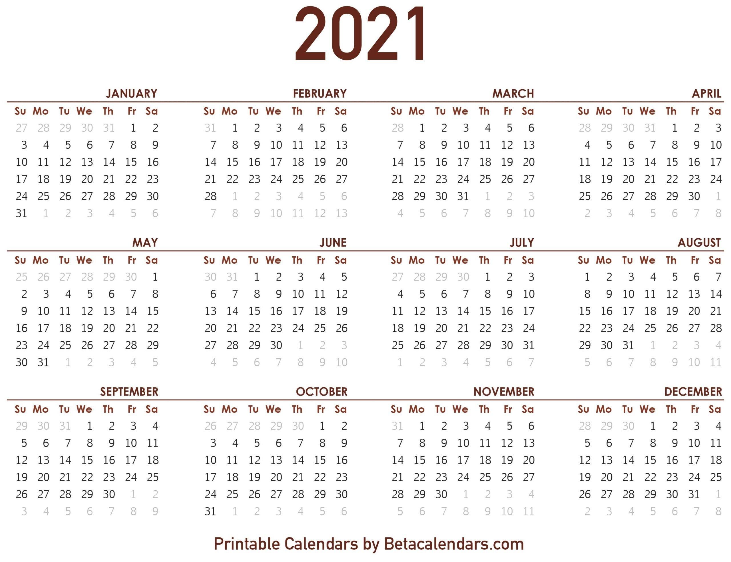 2021 Calendar With Numbered Days - Example Calendar Printable Calendar With Number Days 365