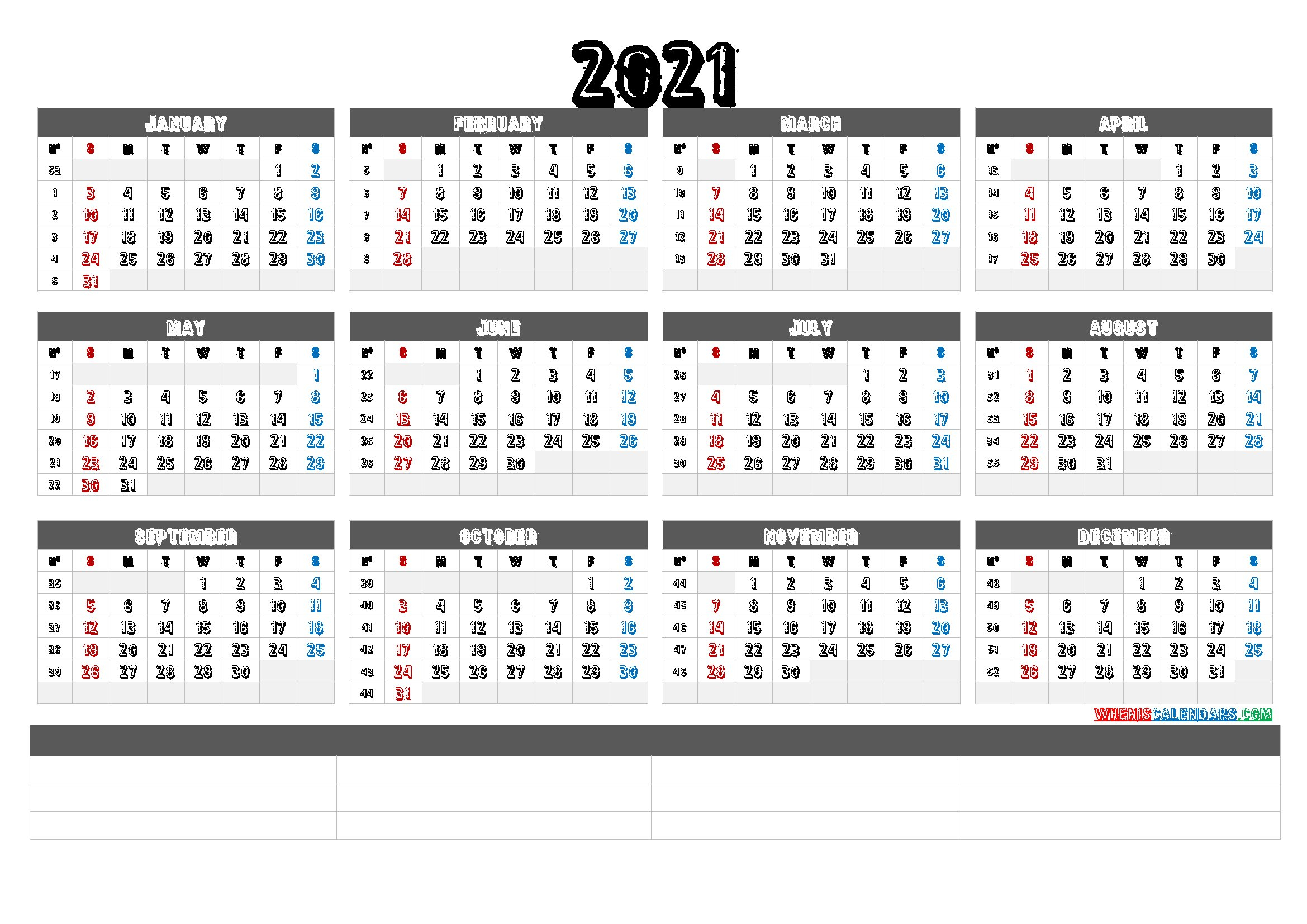 2021 Calendar With Week Number Printable Free / 2021 Calendar Week On On Page