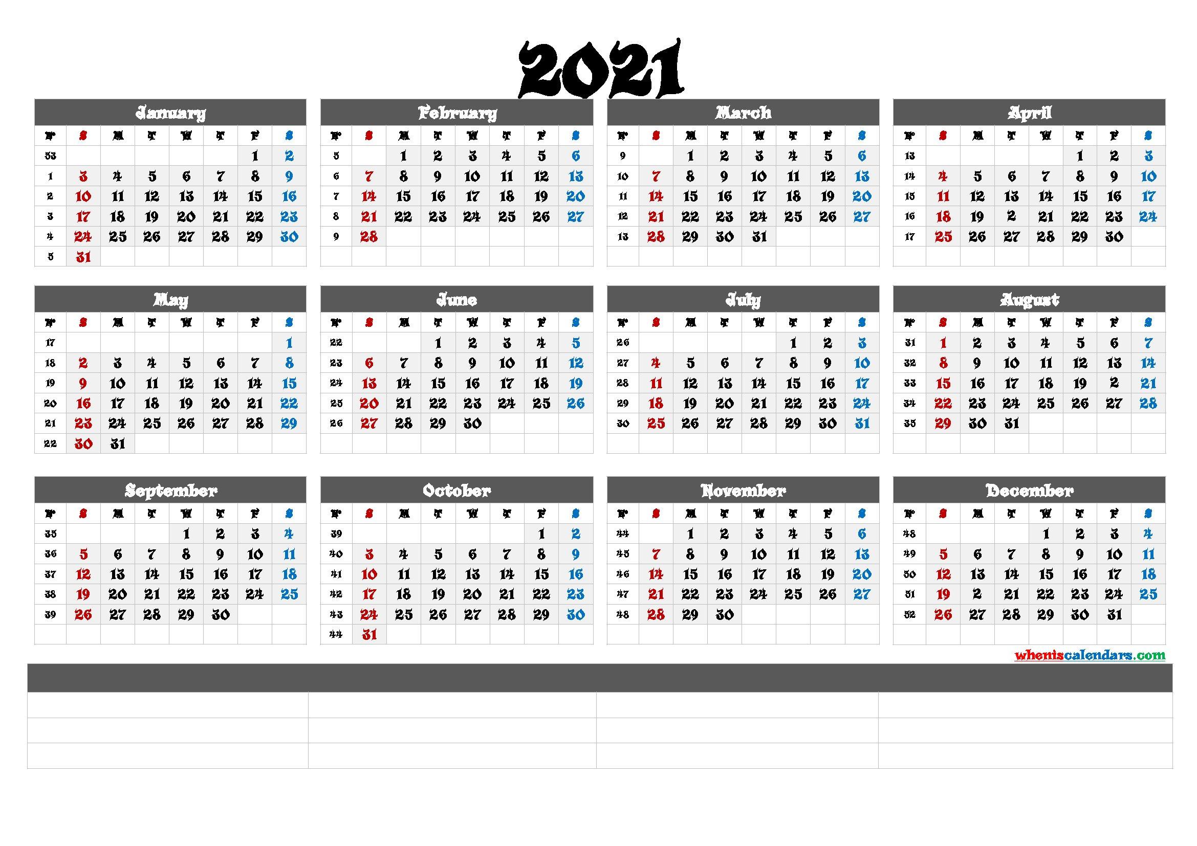 2021 Calendar With Week Number Printable Free : List Of One Week Schedual Pdf