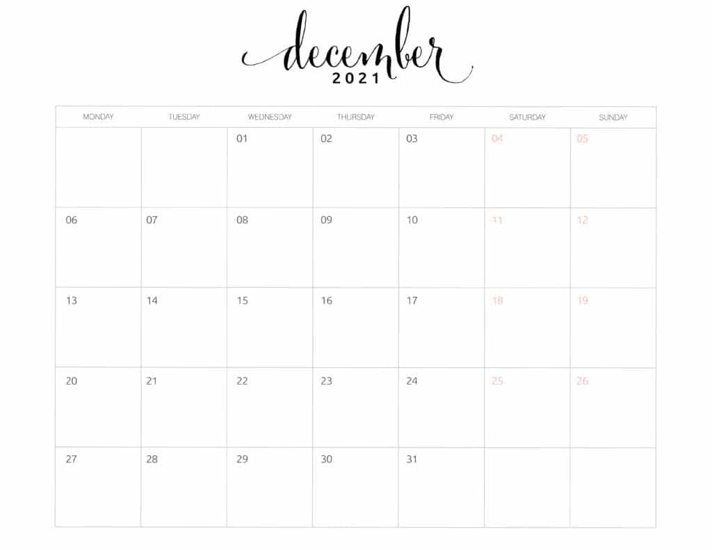 2021 Monthly Calendar Monday Start - World Of Printables How To Print A Calendar Full Page 8 X 11
