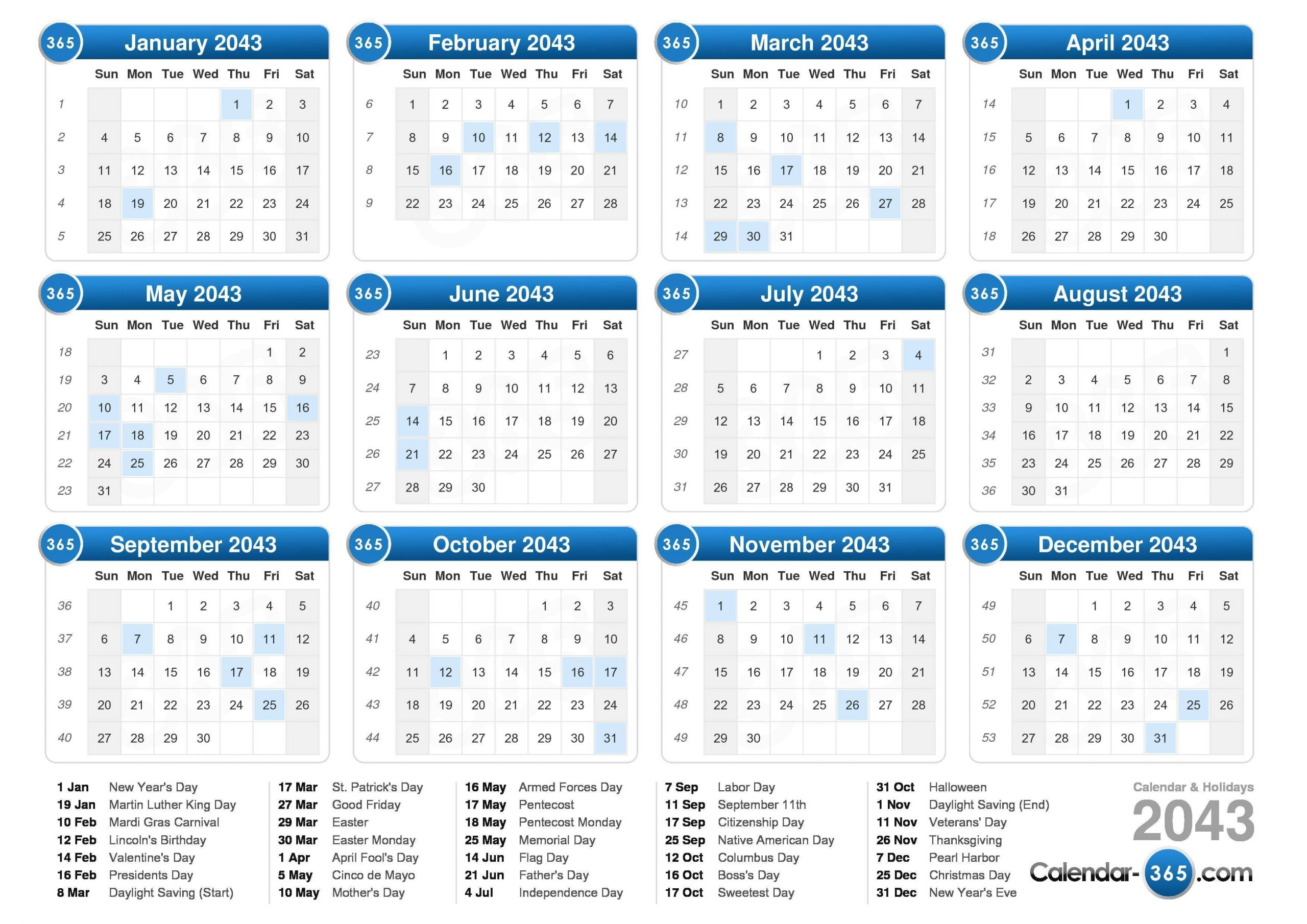 2043 Calendar Calendar With Number Days 365