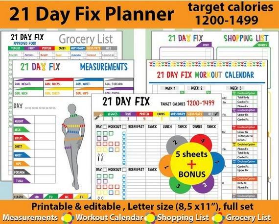 21 Day Fix Tracker 21 Day Fix Workouttatdigitalcreativity 21 Day Calendar Template