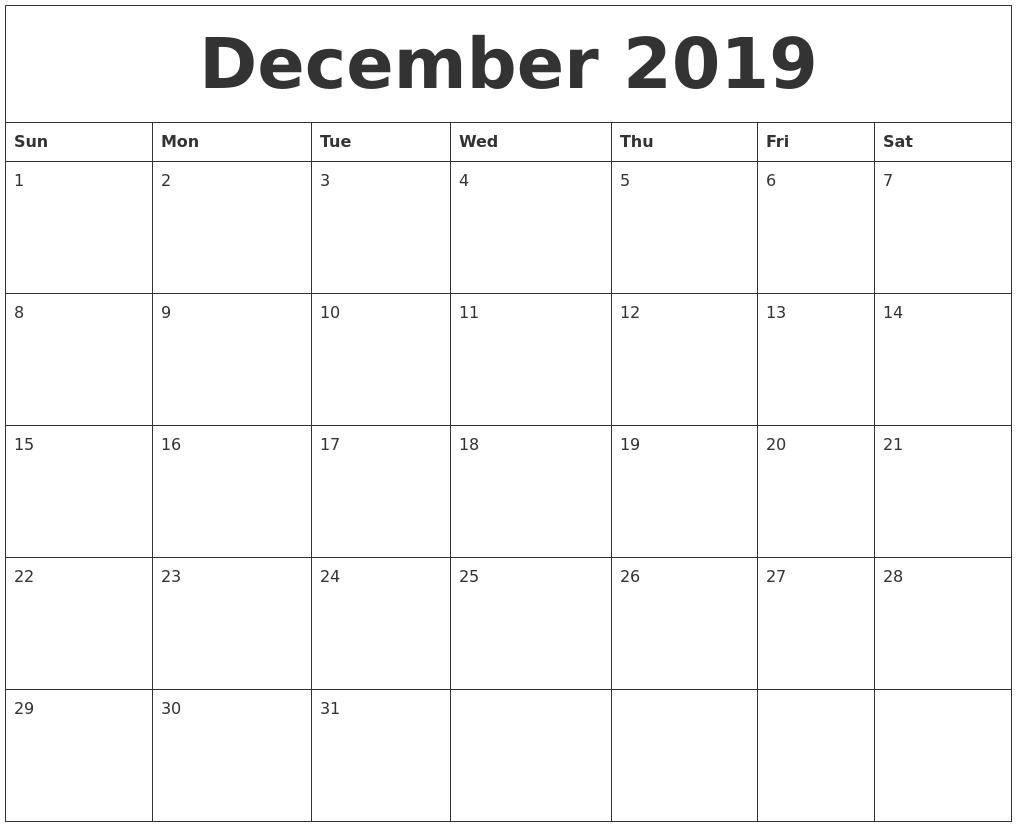21+ Unique Fillable Calendar December 2019 Template Free Fillable Monday Through Friday Calendar