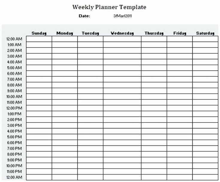 24 Hr Schedule Template Unique Printable 24 Hour Weekly Daily Calendar With Hours Printable