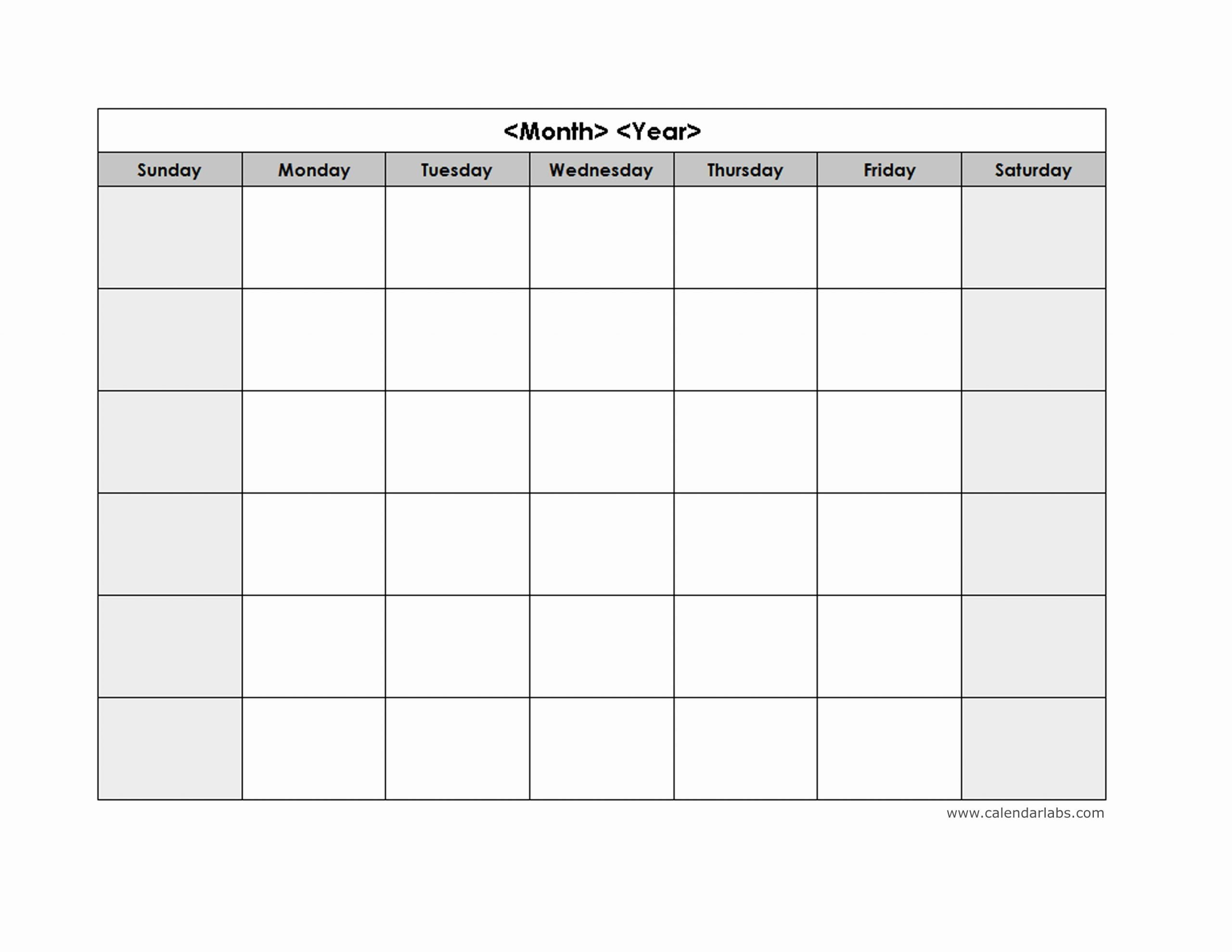 25 Blank Monthly Schedule Template In 2020   Monthly Word Calendar Template Monday - Sunday