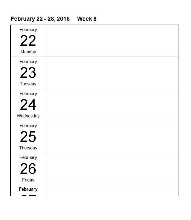26 Blank Weekly Calendar Templates [Pdf, Excel, Word] ᐅ 8 Week Calendar Blank