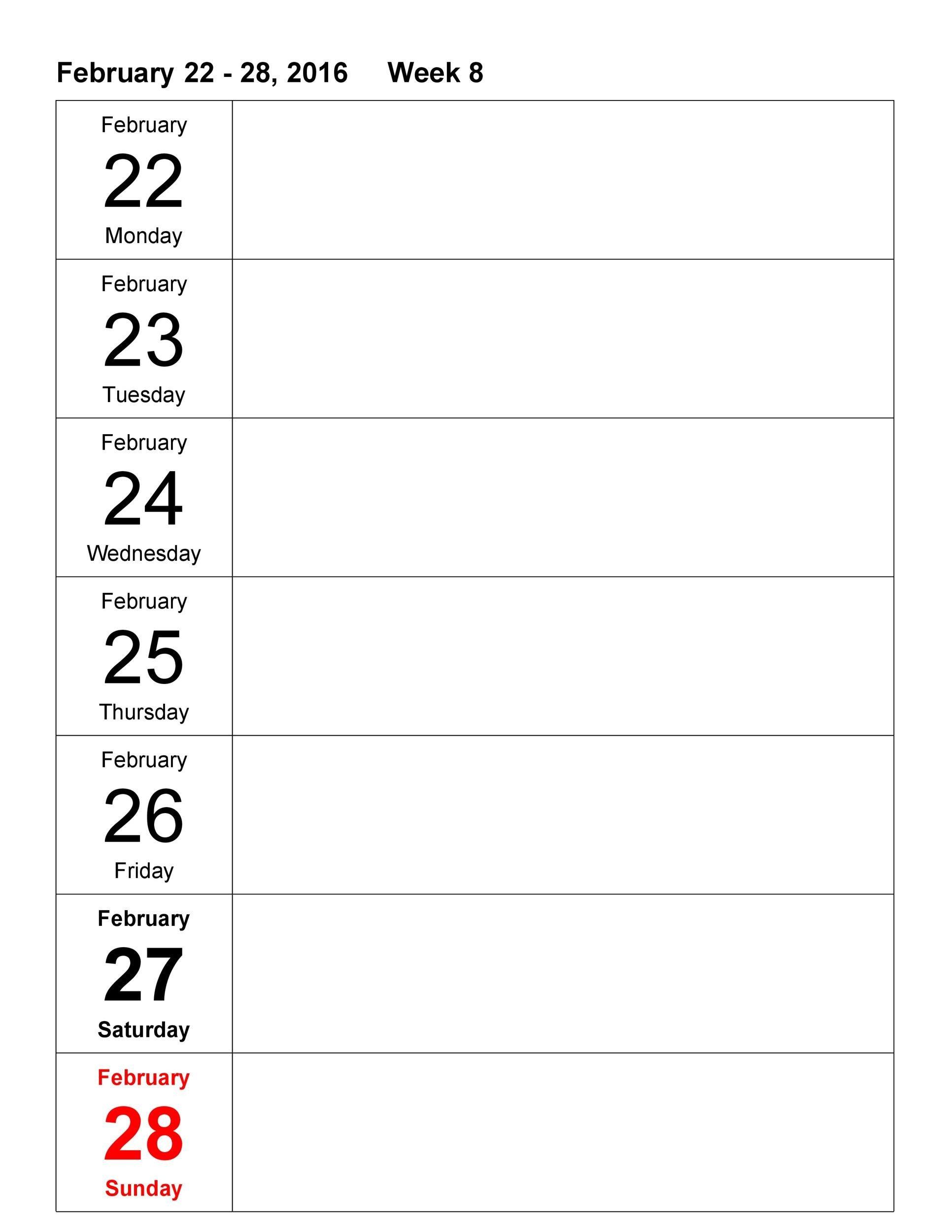 26 Blank Weekly Calendar Templates [Pdf, Excel, Word] ᐅ Four Week Weekly Calendar Printable