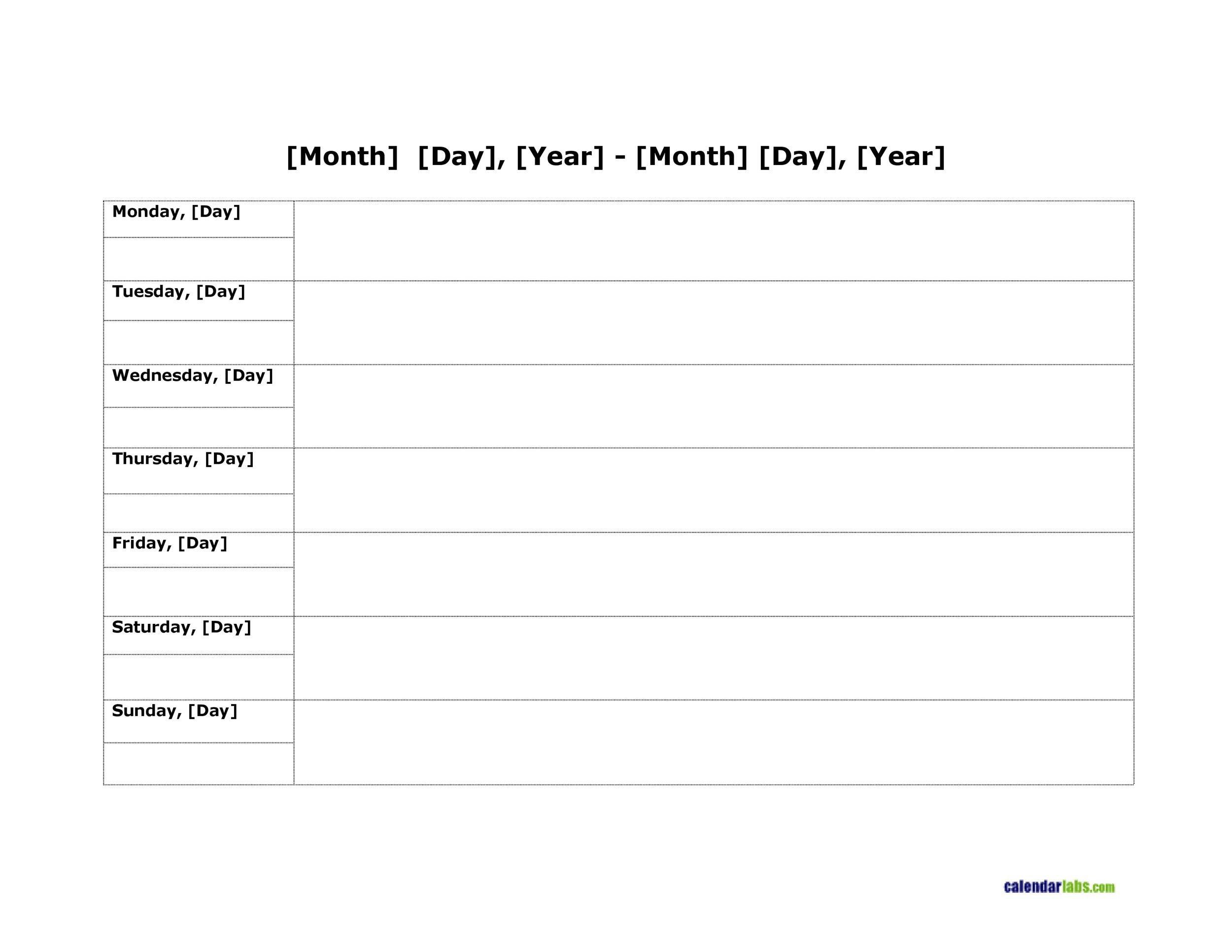 26 Blank Weekly Calendar Templates [Pdf, Excel, Word] ᐅ One Week Monday Through Saturday Communication Calendar