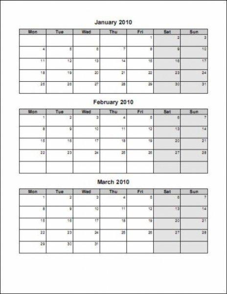 3 Month Blank Calendar Template | Printable Calendar Three Months Calendar Free