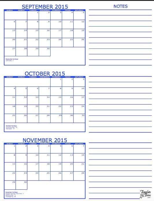 3 Month Calendar Template Free Printable 3 Month Calendars
