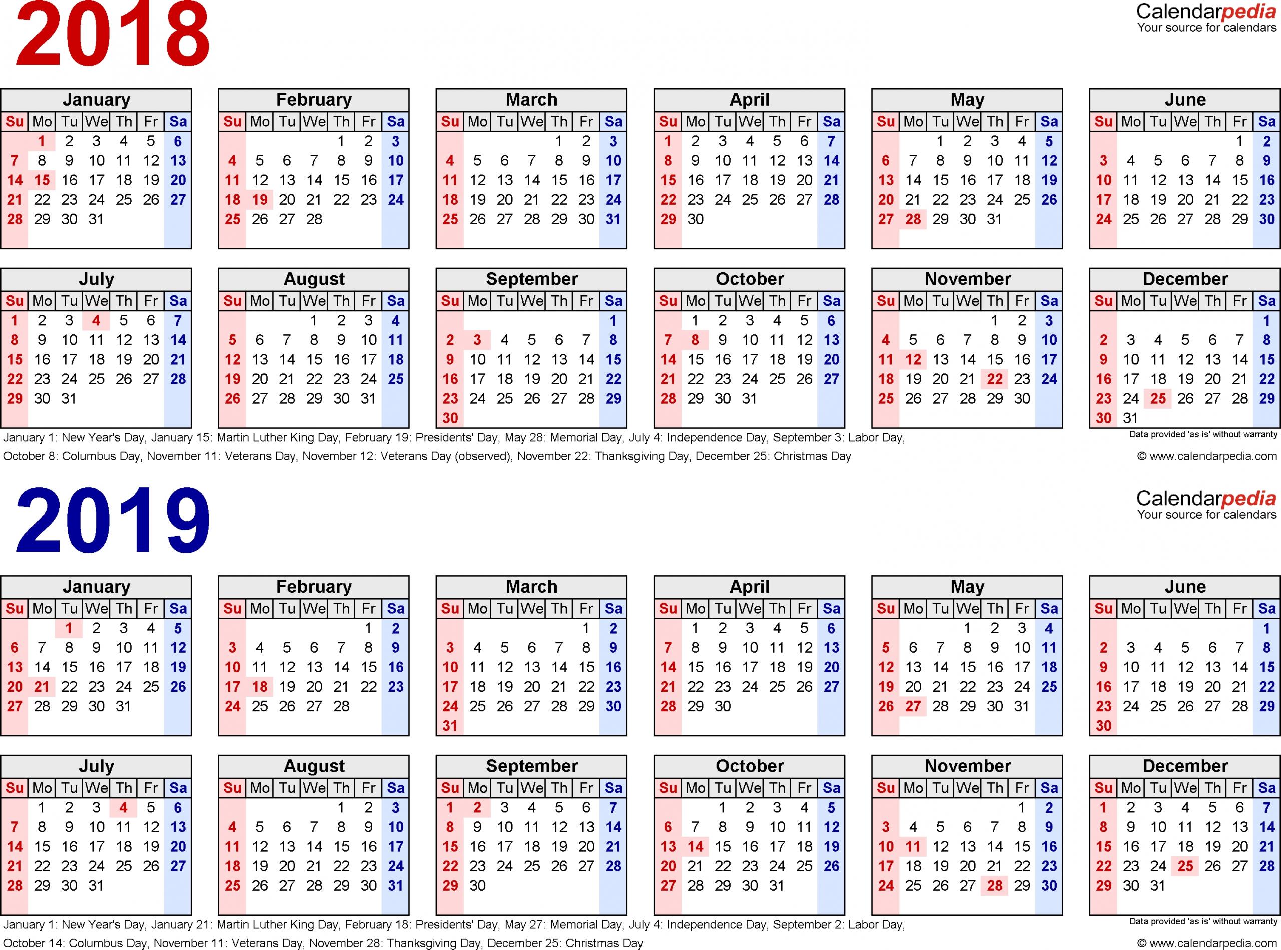 3 Year Calendar Printable 2018 2019 2020 - Calendar Multiple Year Printable Calendar