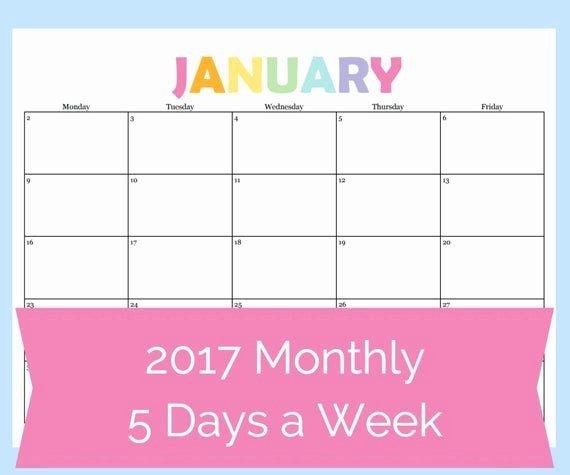 30 5 Day Schedule Template In 2020 | Weekly Calendar 4 Week Printable Calendar