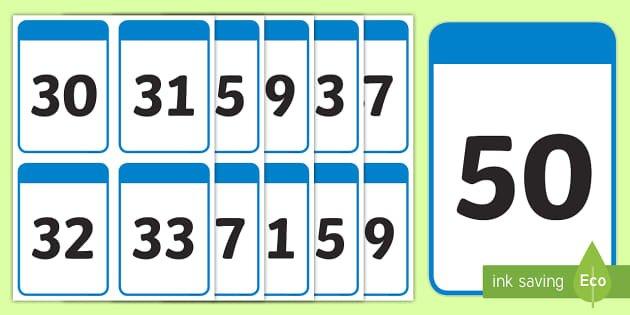 30-50 Number Digit Flashcards (Teacher Made) Large Printable Numbers 1 31