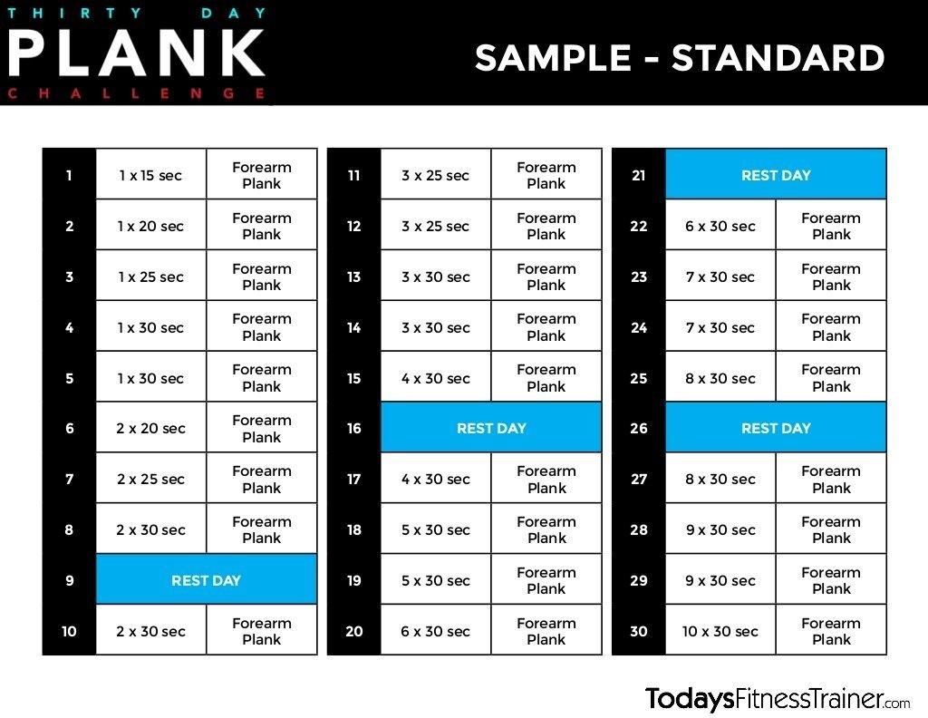 30 Day Beginner Plank Challenge   Beginner Plank Challenge 30 Day Plank Schedule Chart