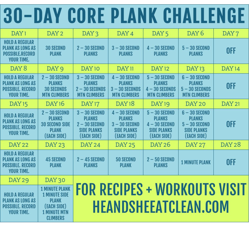 30-Day Core Plank Challenge Printable 30-Day Plank Challenge
