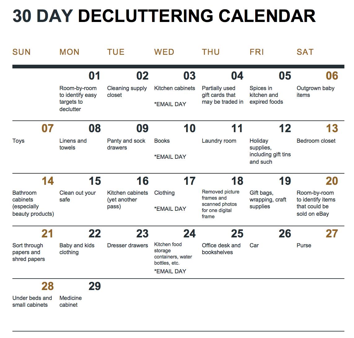 30 Day Declutter Calendar   Example Calendar Printable 30 Day Printable Calendar