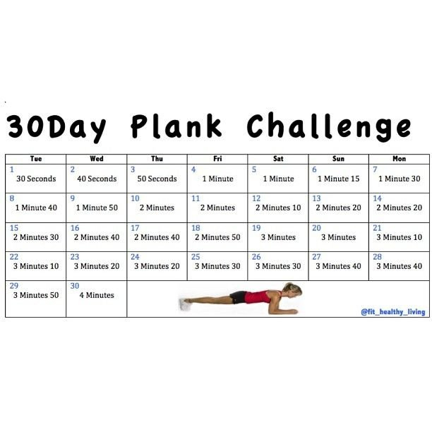 30 Day Plank Challenge Chart :-Free Calendar Template Printable Plank Challenge Chart