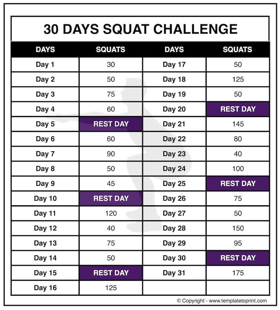 30 Day Squat Calender | Printable Calendar 2020-2021 30 Day Printable Calender