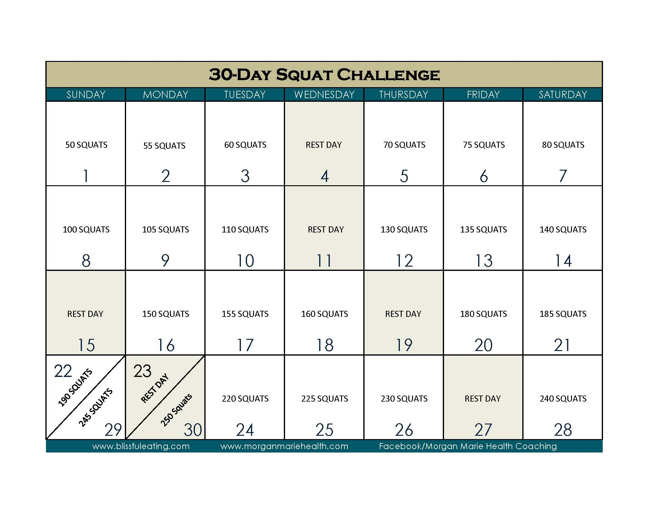 30 Days Squat Challenge Calendar   Printable Calendar 2020 30 Day Printable Calendar