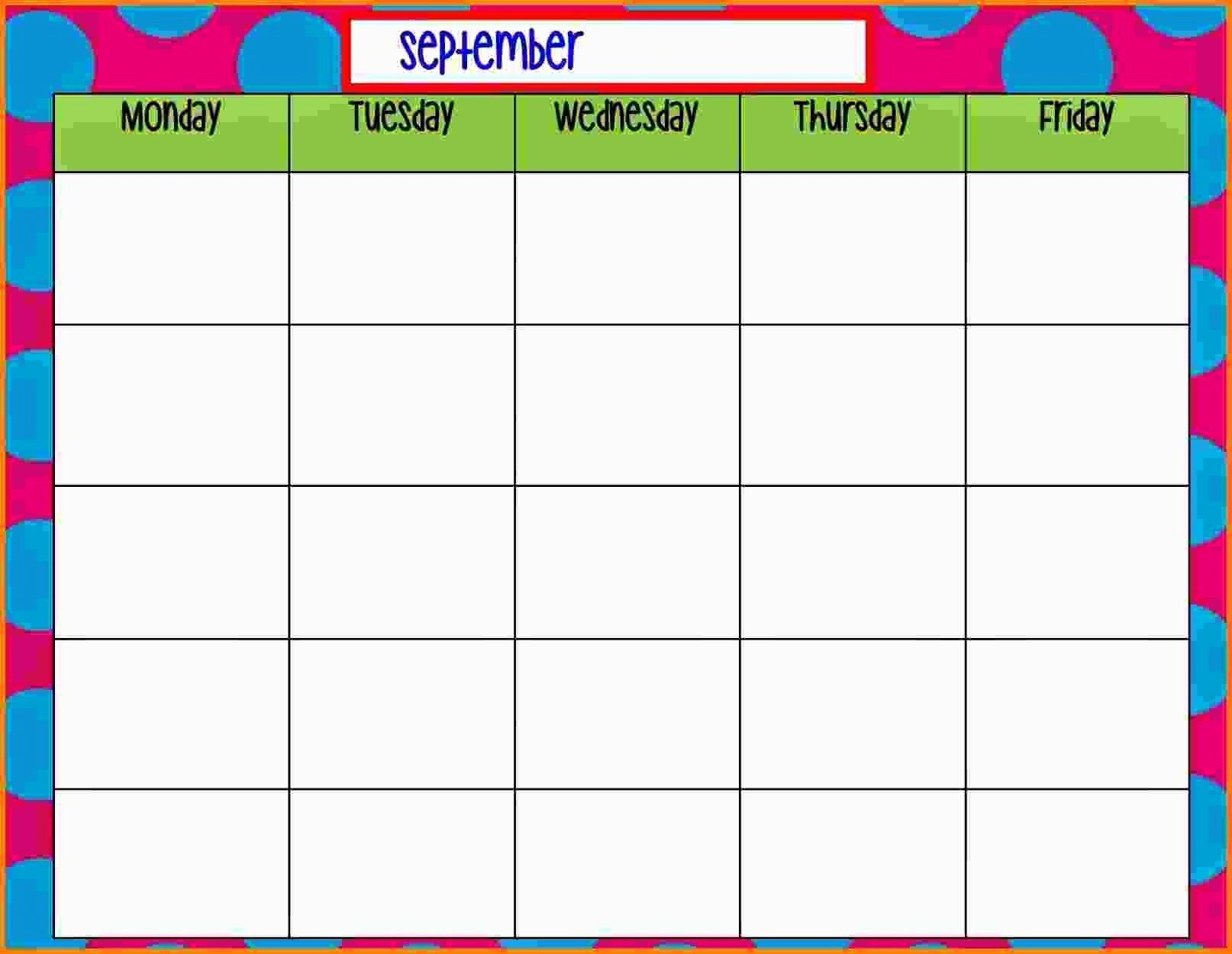 30 Monday To Friday Schedule Template In 2020 | Calendar Monday Through Friday Planner Template