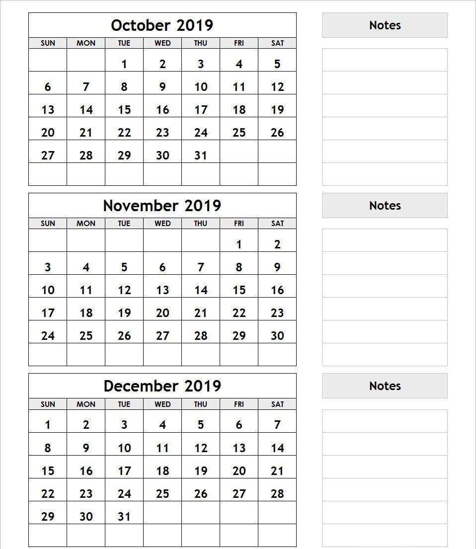 3Month Blank Template Oct 2020 | Free Calendar Template Three Months Calendar Free