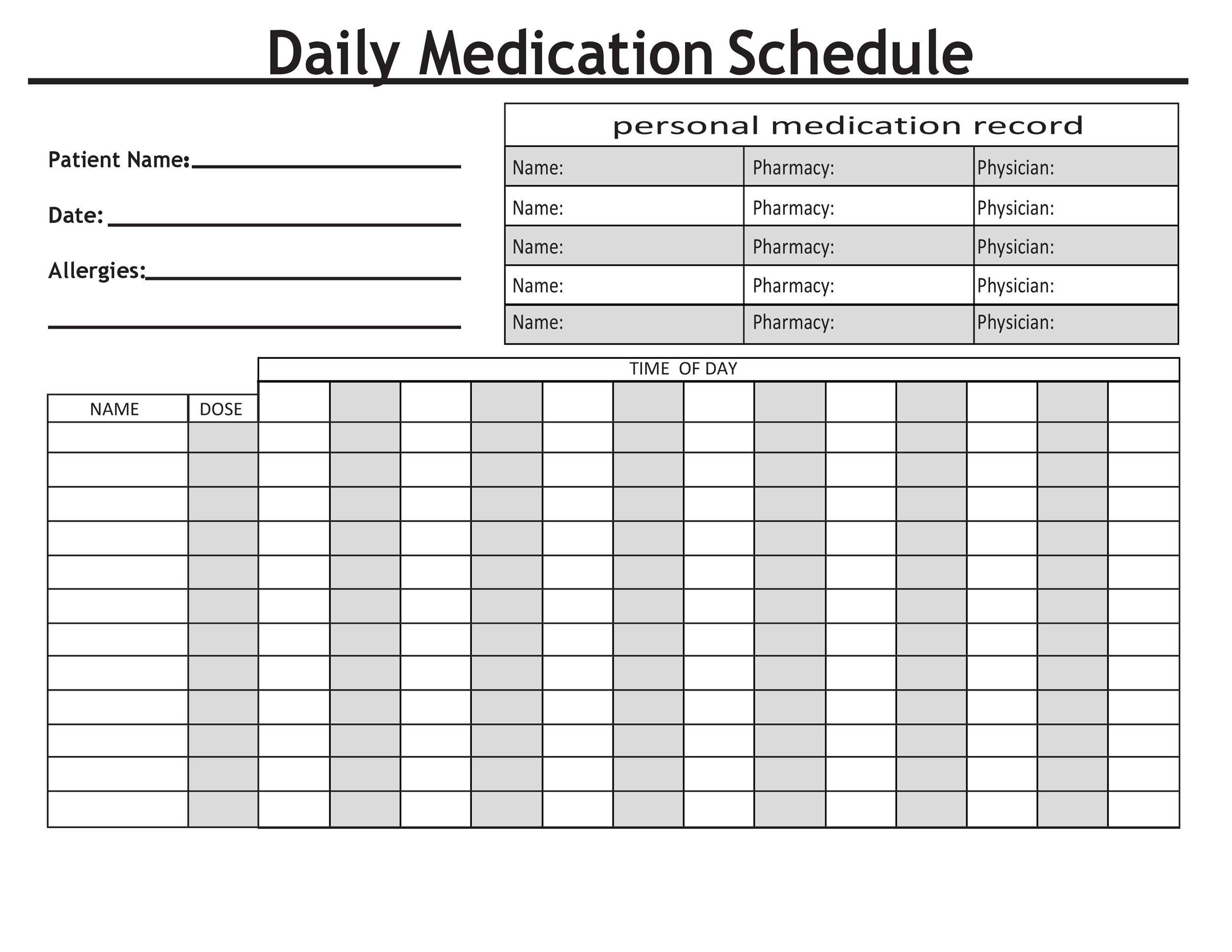 40 Great Medication Schedule Templates (+Medication Calendars) Short Timer Calendar Download Free