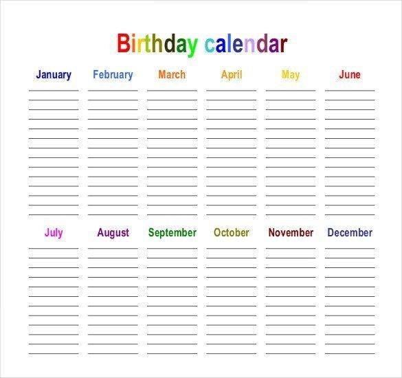 45+ Birthday Calendar Templates - Psd, Pdf, Excel 12 Month Birthday Calendar Free Printable