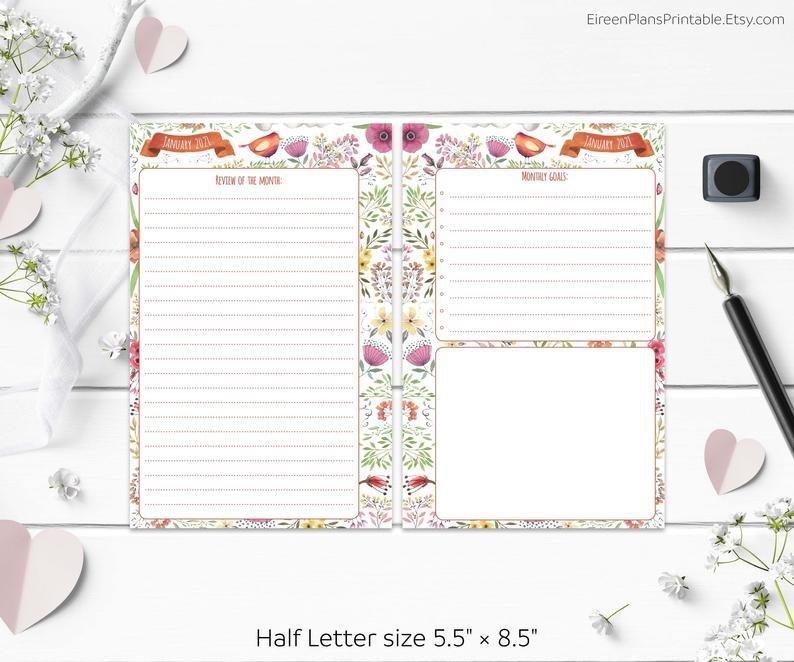 5.5 X 8.5 2021 Monthly Planner Printable Refill Calendar 5.5 X 8.5 Calendar Printable