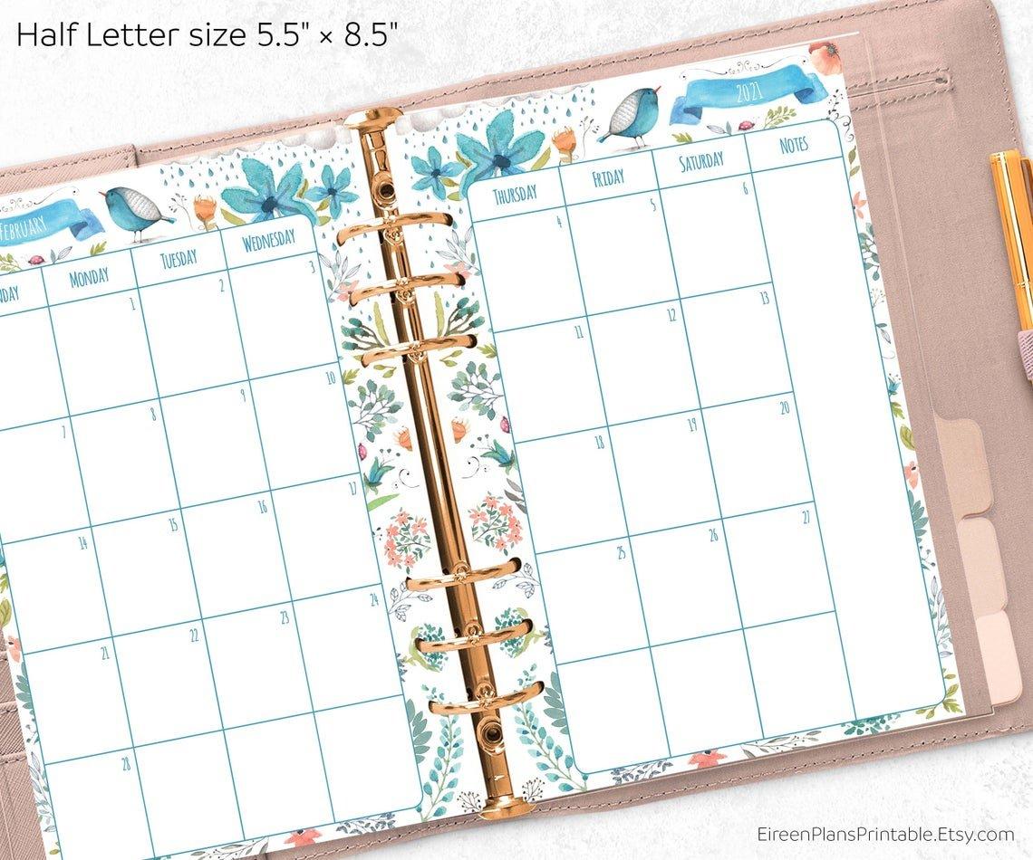 5.5 X 8.5 2021 Monthly Planner Printable Refill Calendar 8.5 X 5.5 Calendar Printable