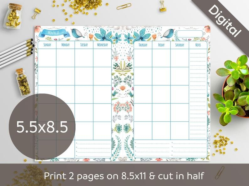 5.5 X 8.5 Undated Monthly Planner Printable Refill 5.5 X 8.5 Calendar Printable