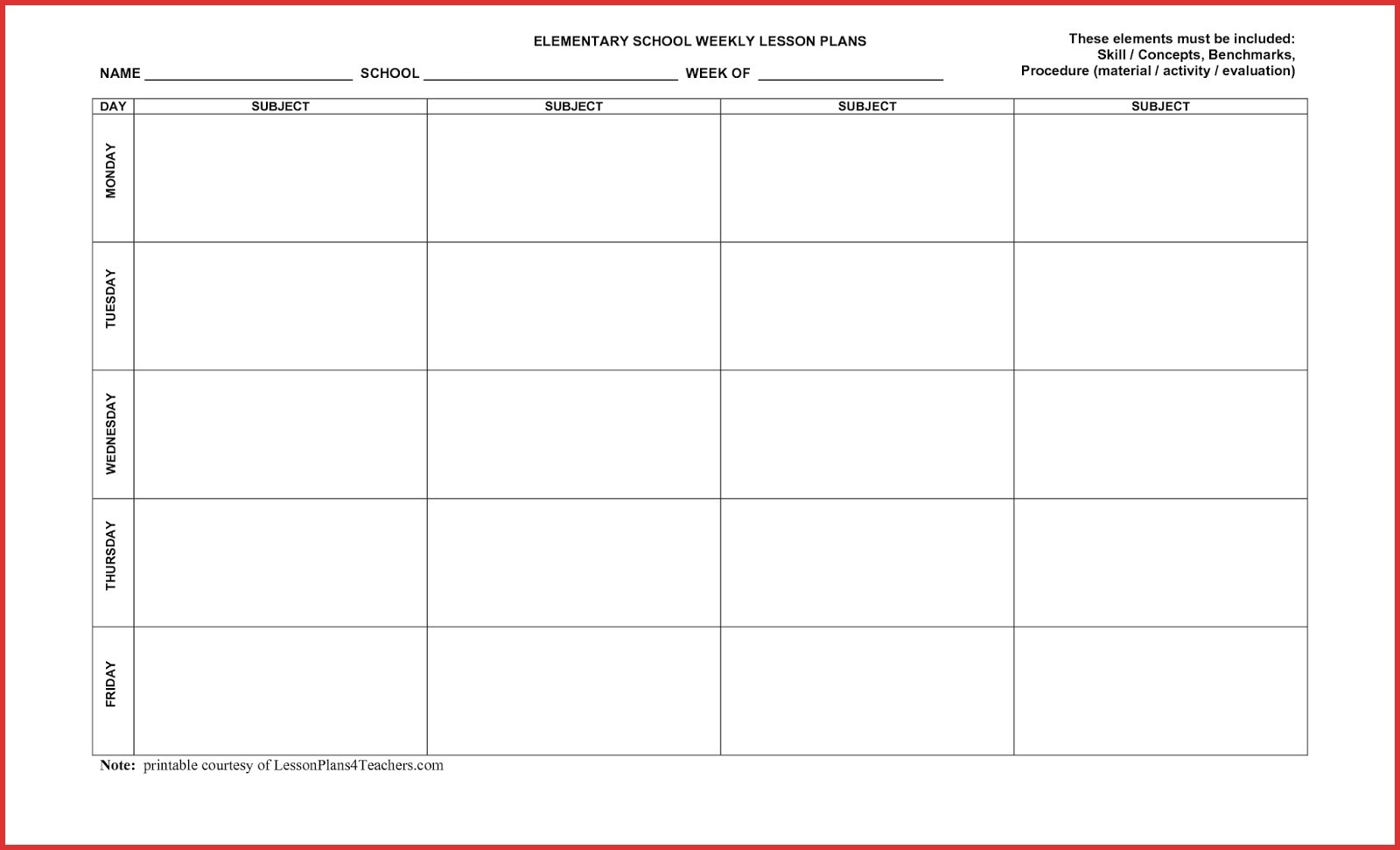5 Day Monthly Calendar Printable | Example Calendar Printable Free 5 Day Calendar Template