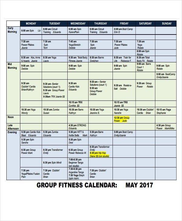 6+ Fitness Calendar Templates - Pdf, Word, Excel | Free Short Timer Calendar Download Free
