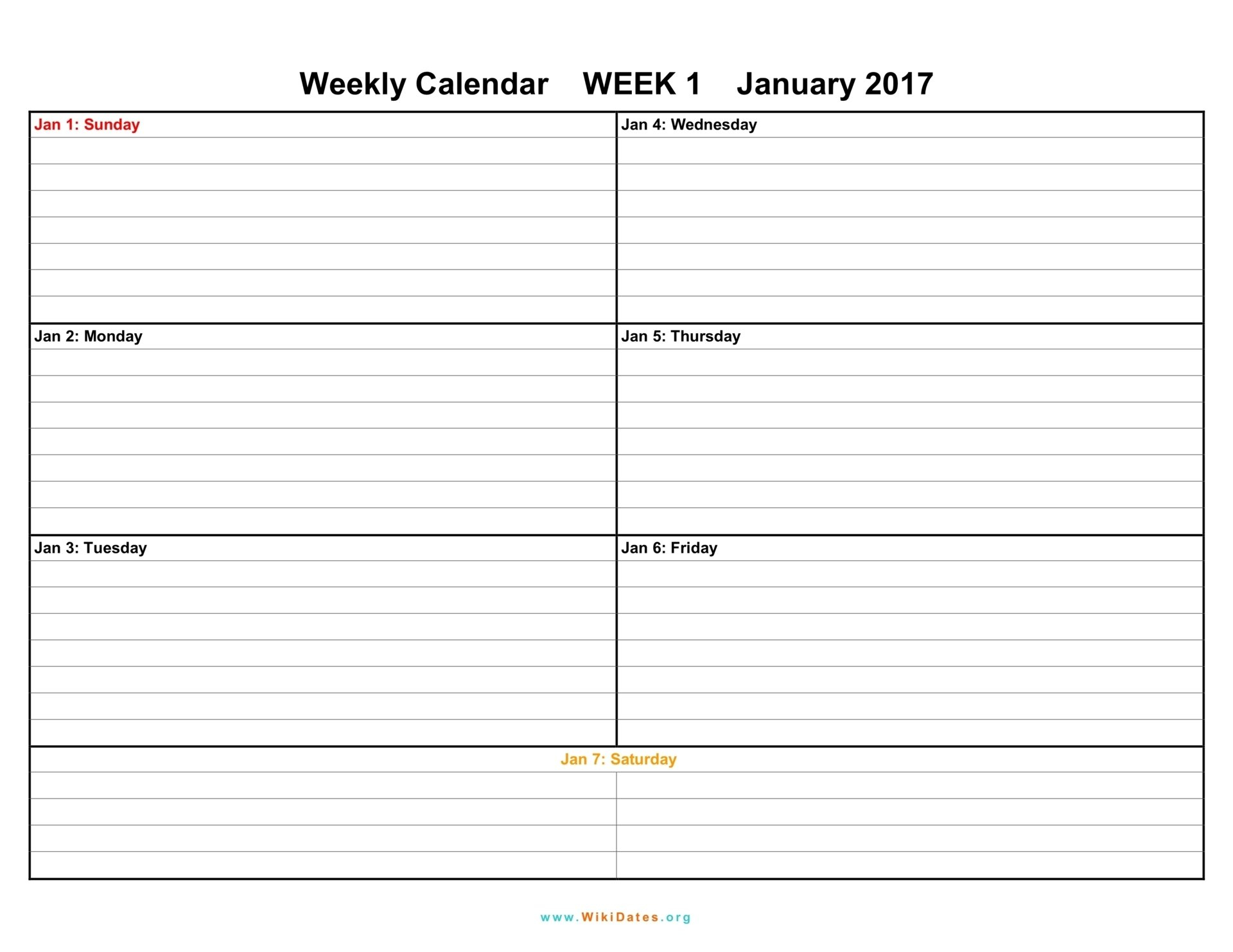 7 Day Weekly Planner Template Printable | Calendar Free Fillable Weekly Schedule