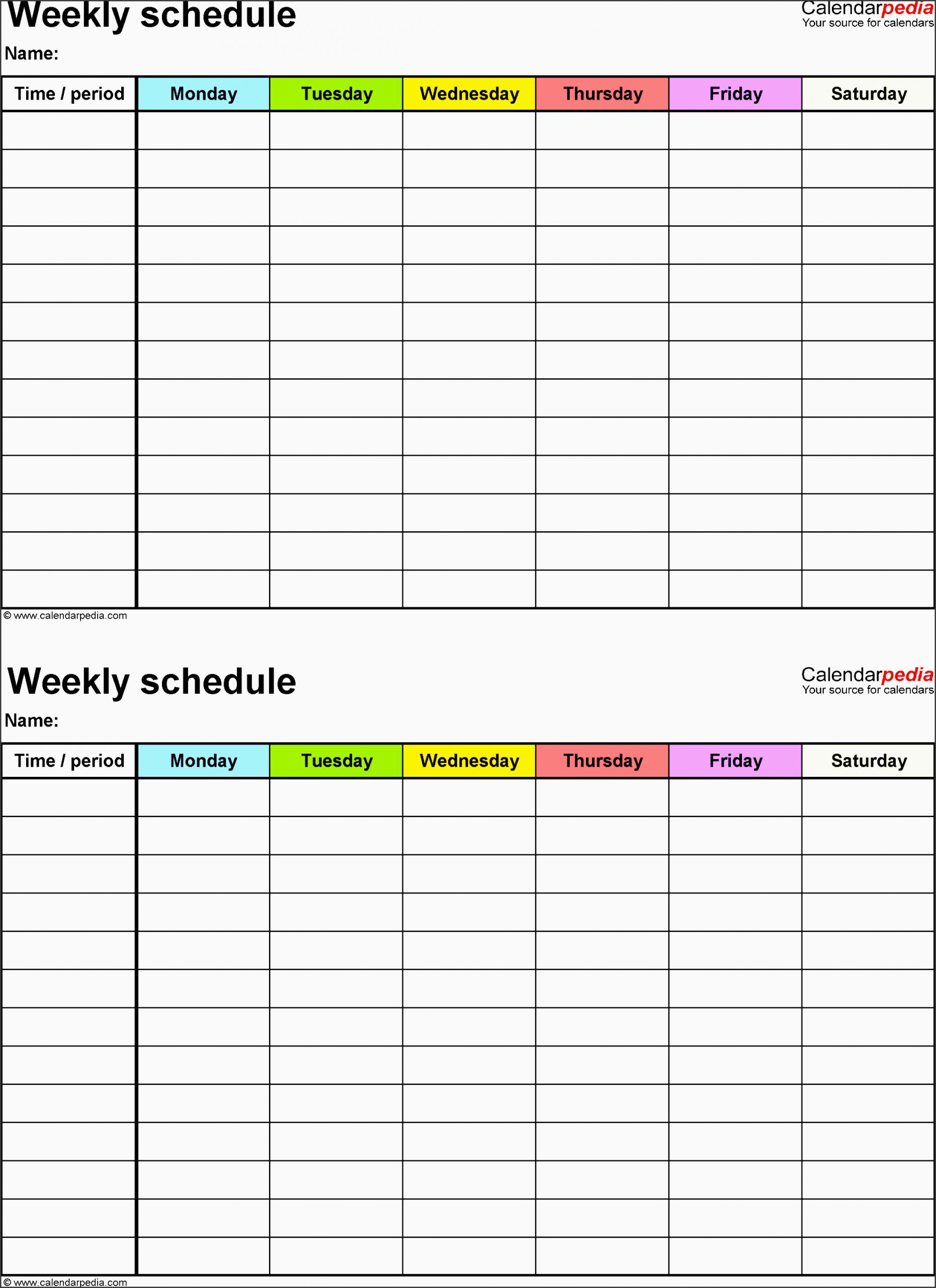 7 Employee Weekly Time Planner - Sampletemplatess Two Week Calendar Pdf