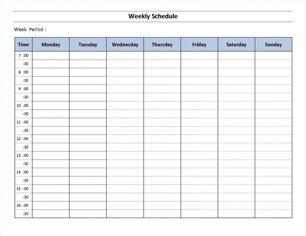 7 Week Day Print - Calendar Template 2021 30 Day Challenge Excel Template