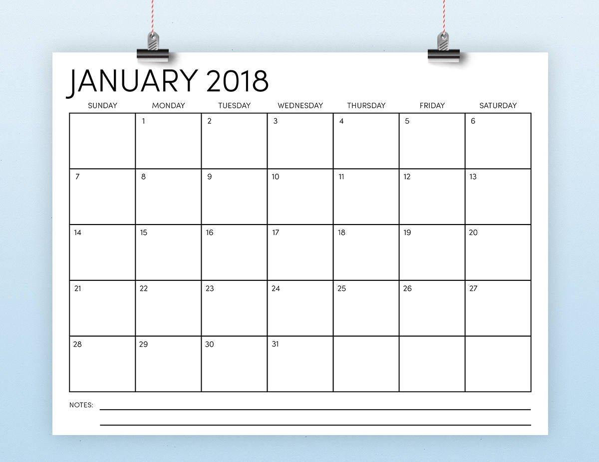 8.5 X 11 2018 Calendar Template Instant Download 8 X 11 Calendar Pages