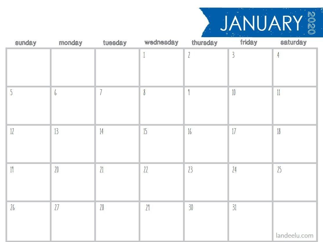 8.5 X 11 Printable 2020 Calendar At A Glance - Calendar Free 8.5 X 5.5 Printable Calendar