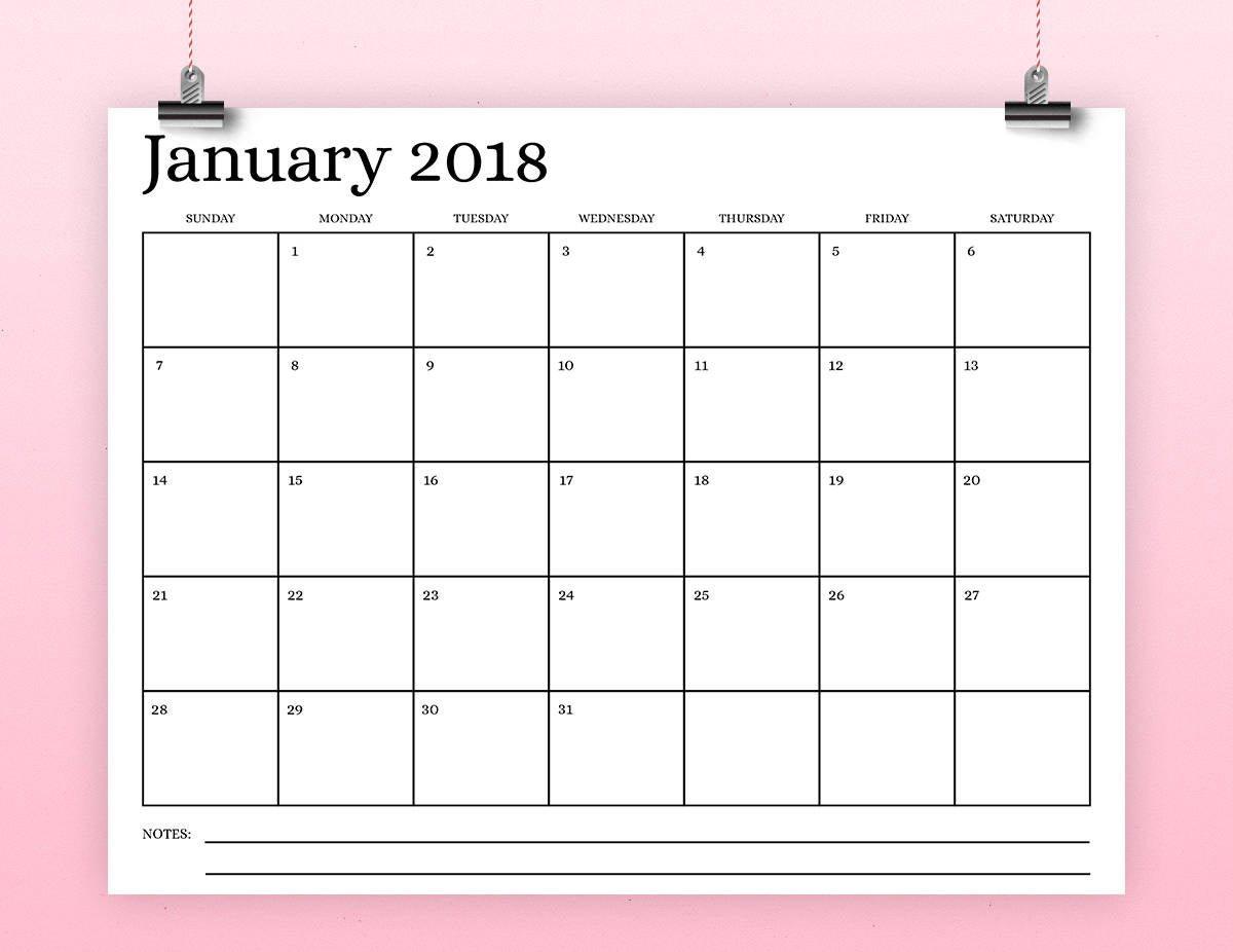 8.5X11 Inch 2018 Calendar Template Instant Download Serif 11 X 17 April Calendar