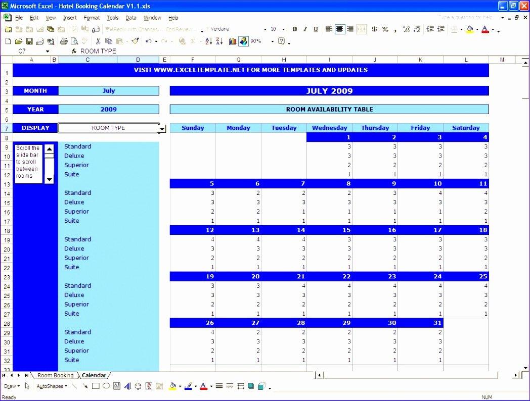 8 Excel Booking Calendar Template - Excel Templates Reservation Calendar Template Excel