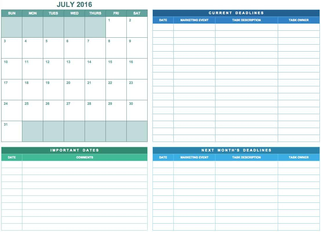 9 Free Marketing Calendar Templates For Excel - Smartsheet Free Monthly Task Calendar Template