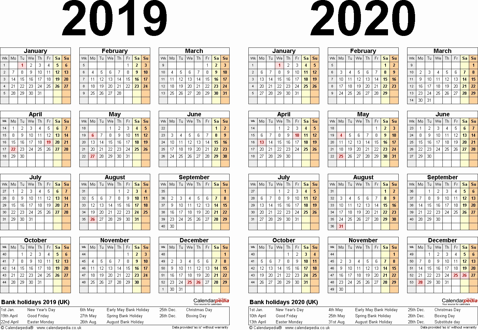 A4 Yearly Calendars For 2019 And 2020 - Calendar Multiple Year Printable Calendar