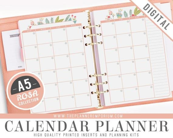 A5 Calendar Planner Inserts - Rosa Collection - Fits Kikki 8X5.5 Planner Inserts Free Printable