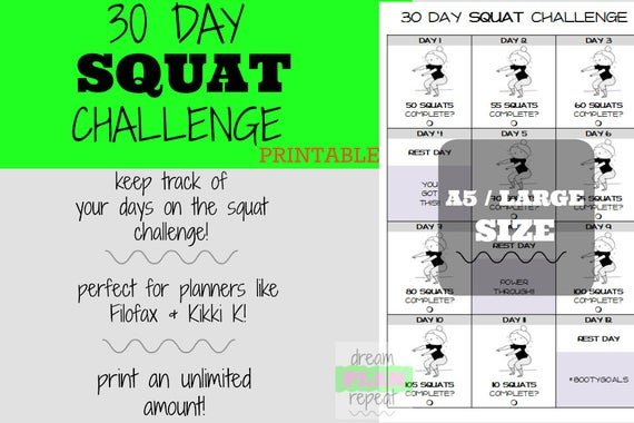 A5 / Large Size 30 Day Squat Challenge Printable Planner Free Printable Squat Challenge Chart