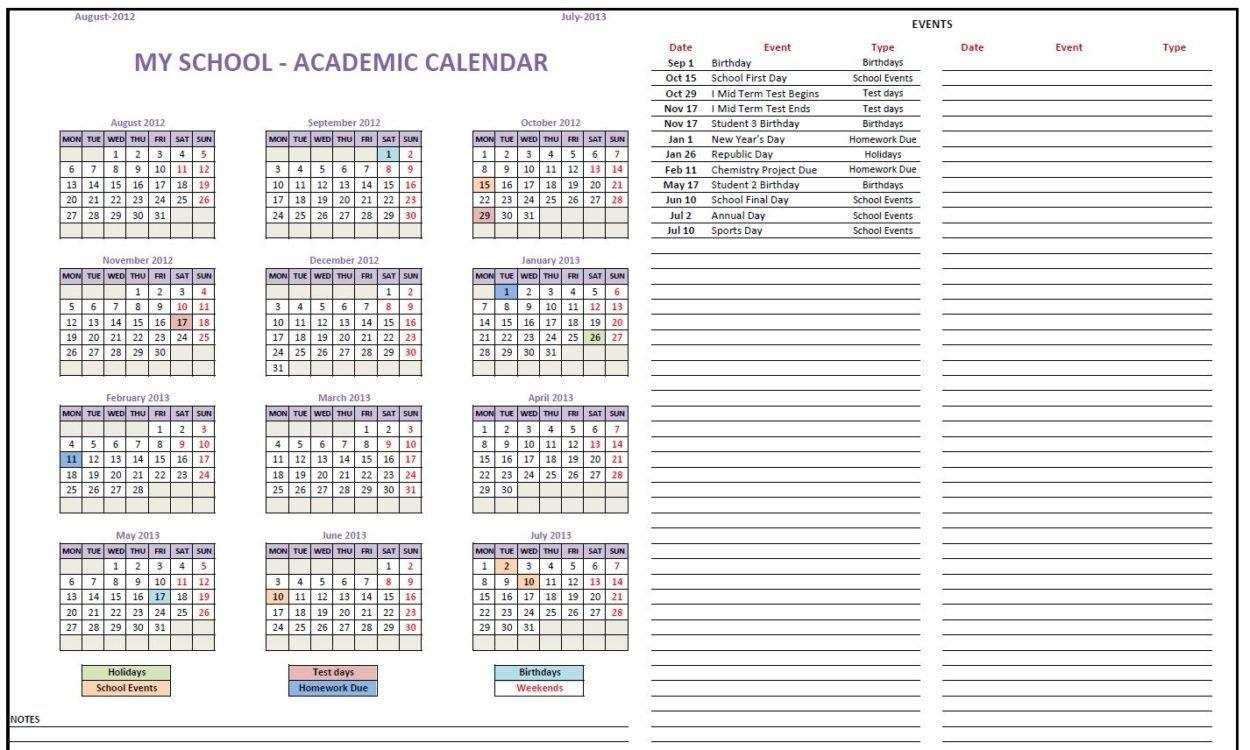 All Purpose Calendar Maker (Free Excel Template) 12 Month Birthday Calendar Free Printable