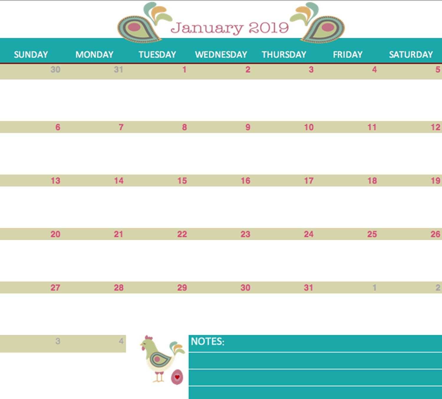 Any Year 2019 And Beyond Spring Chicken 12 Month Calendar 5 Day Calendar Excel