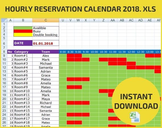 Appointment Scheduling And Hourly Reservation Booking Calendar For Campground Reservations Excel Spreadsheet