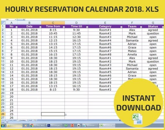Appointment Scheduling And Hourly Reservation Booking Reservation Calendar Template Excel