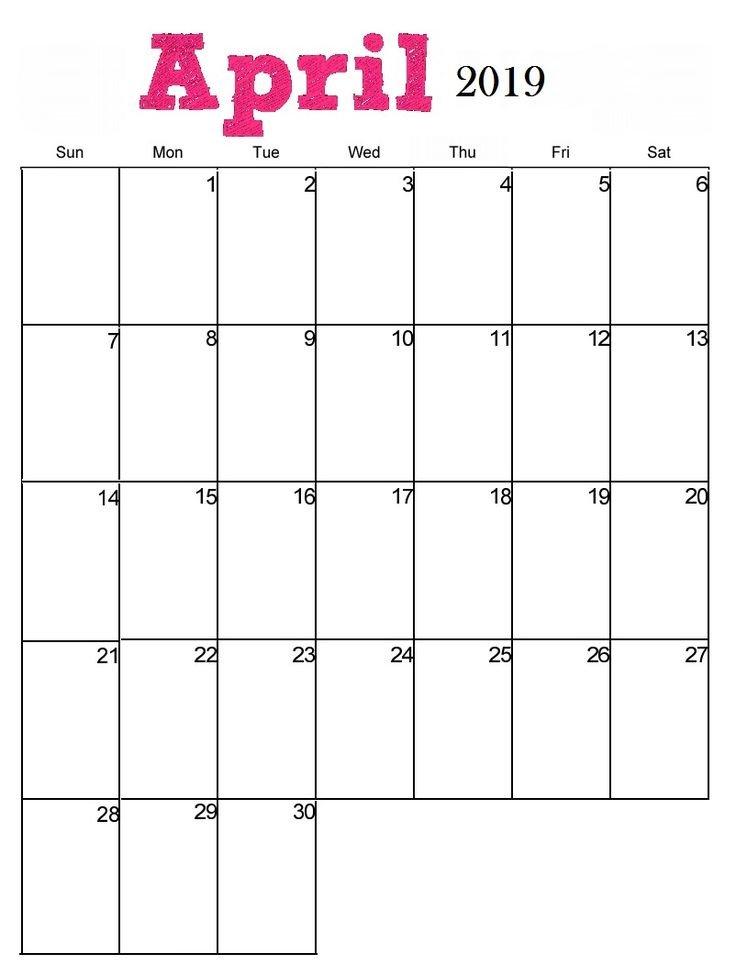 April 2019 Portrait Calendar Template   Blank Calendar Hp Free Calander Templates
