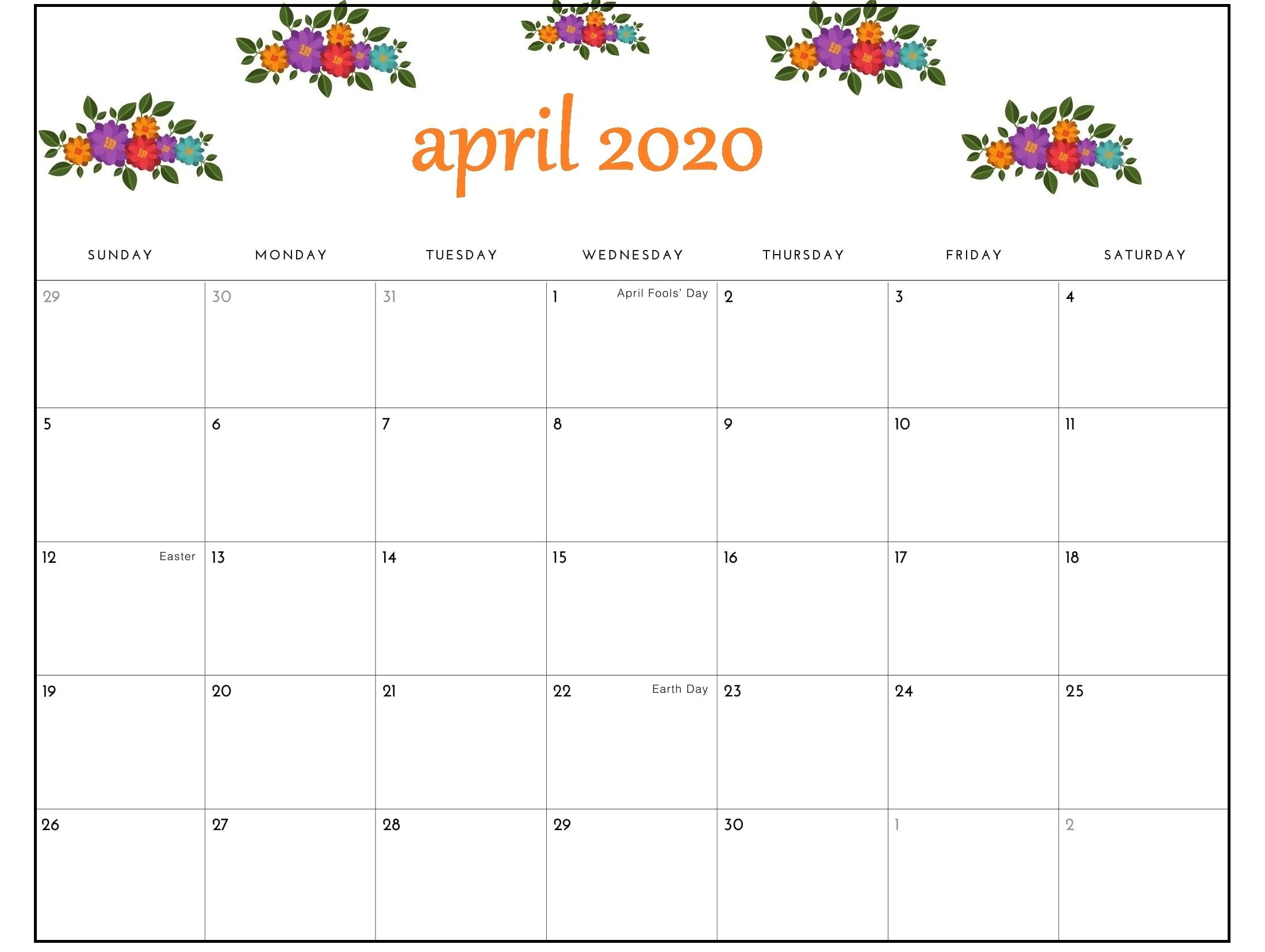 April 2020 Calendar Pdf Sheet For Exam   Free Printable 8X5 Monthly Calendar Print Outs