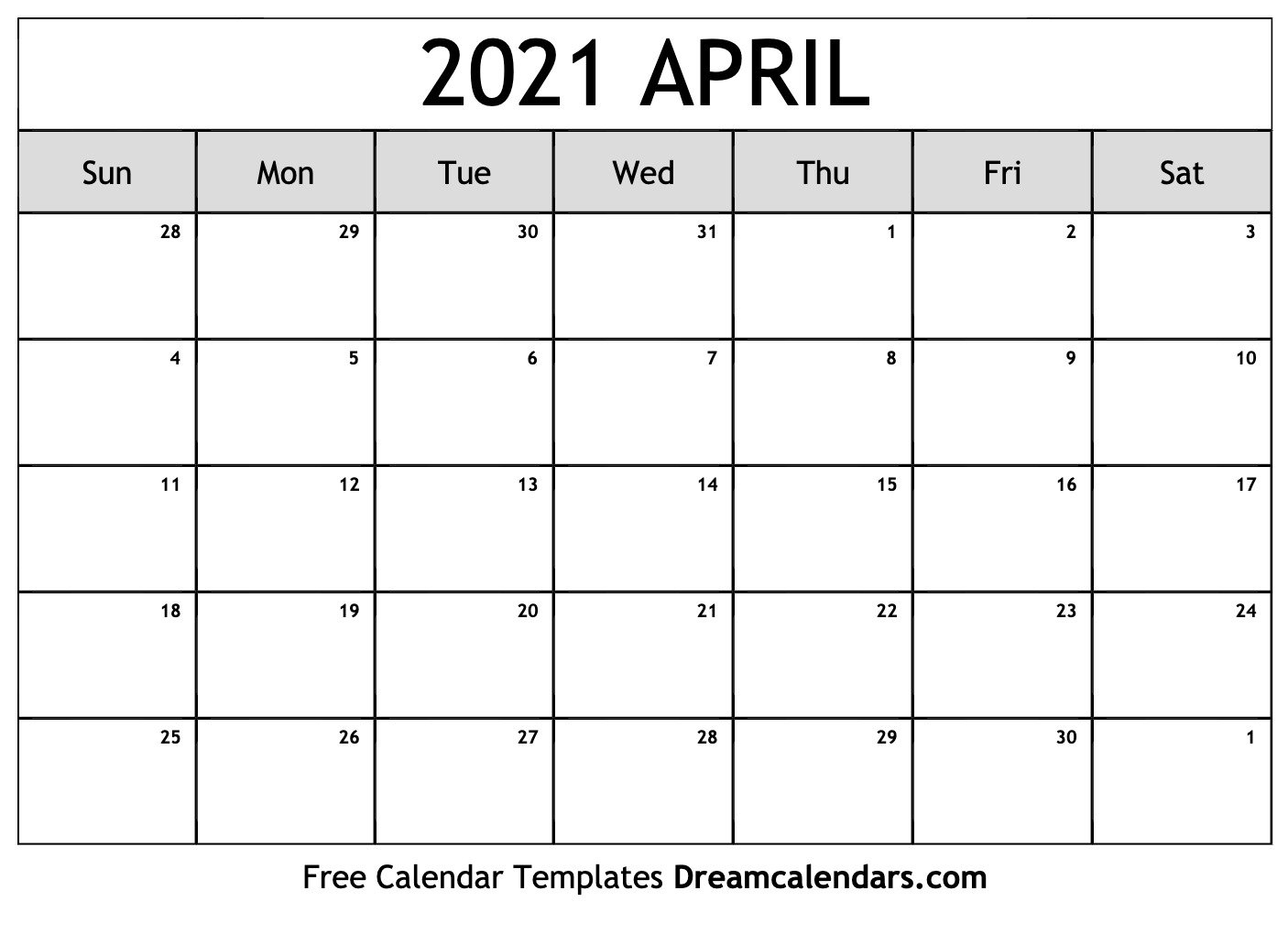 April 2021 Calendar | Free Blank Printable Templates 8X11 Sie Free April Calander